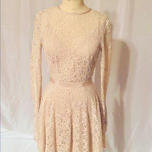 Cream Long Sleeve Lace Dress